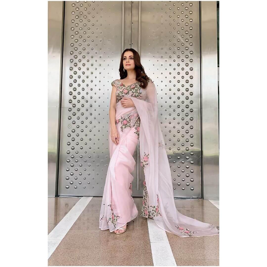Traditional Pink Sari Dia Mirza outfits