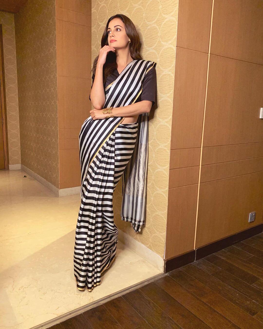 Striped Sari Dia Mirza outfits