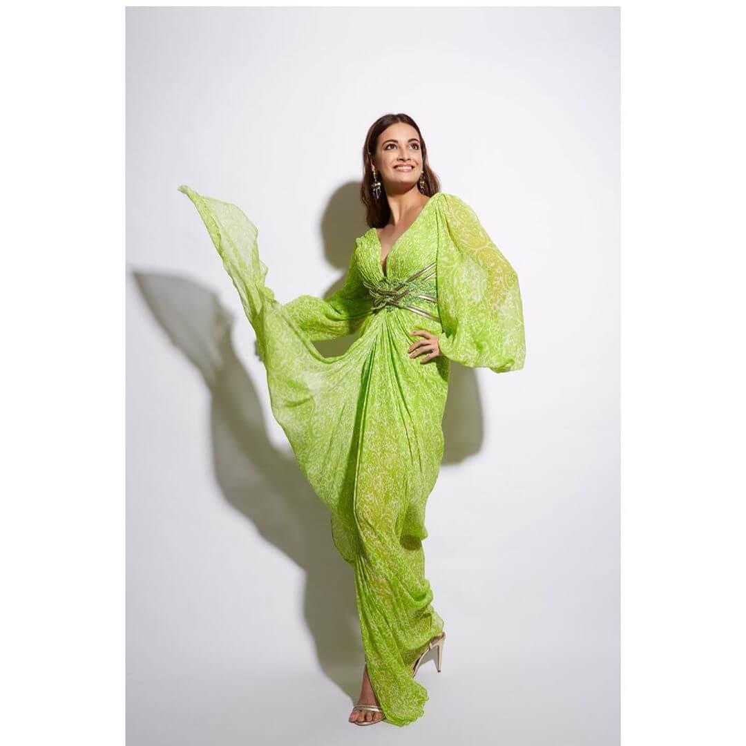 Gorgeous green silhouette Dia Mirza outfits