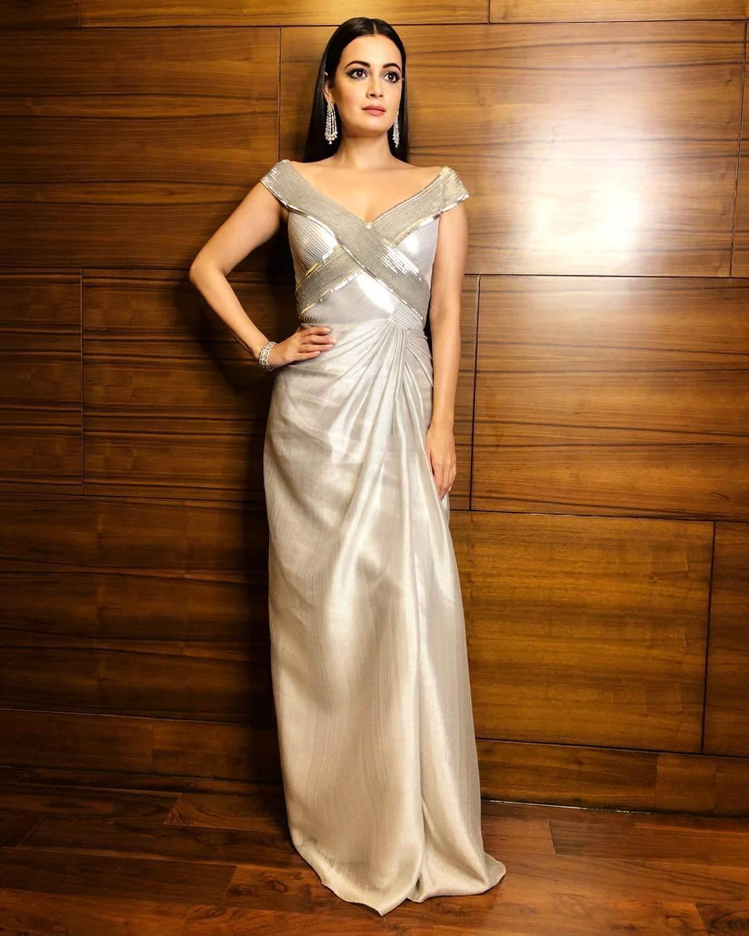 Silver off-shoulder gown