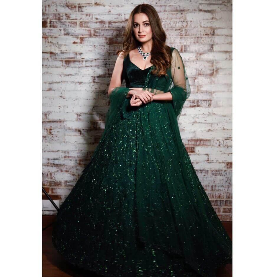 Green Embellished Lehenga Dia Mirza outfits