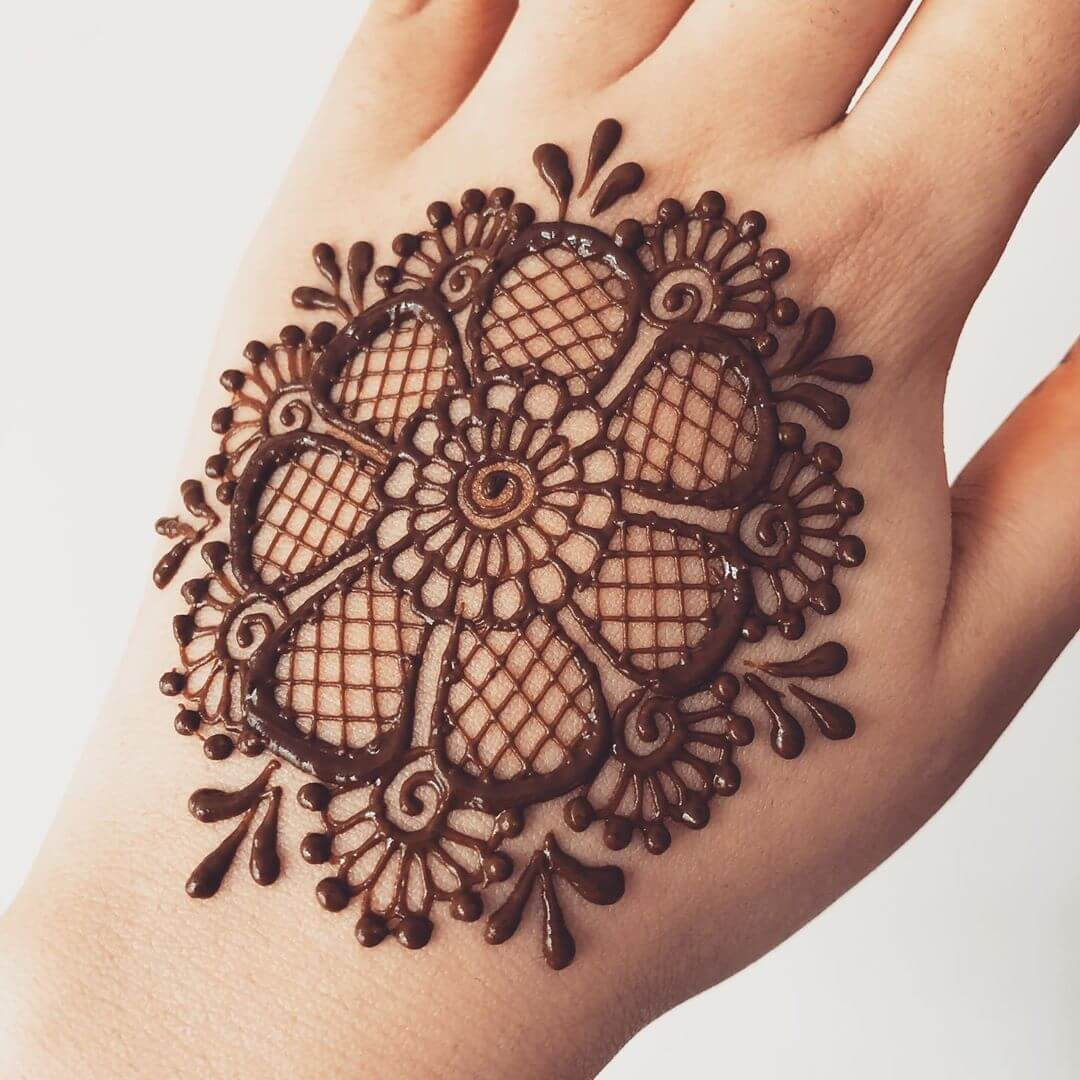 Checked Mandala mehndi design for back hand