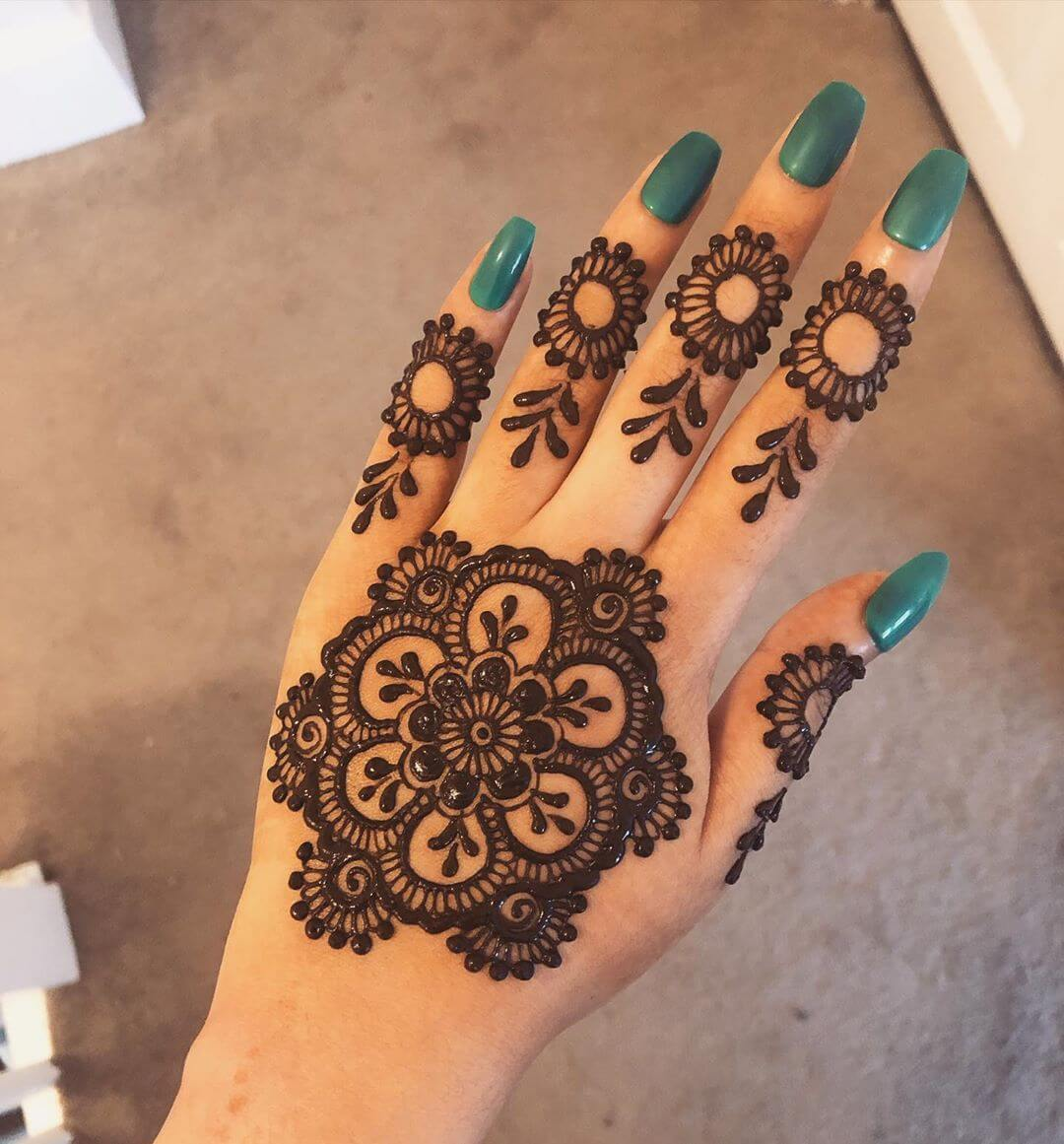 Floral mandala mehndi design for back hand