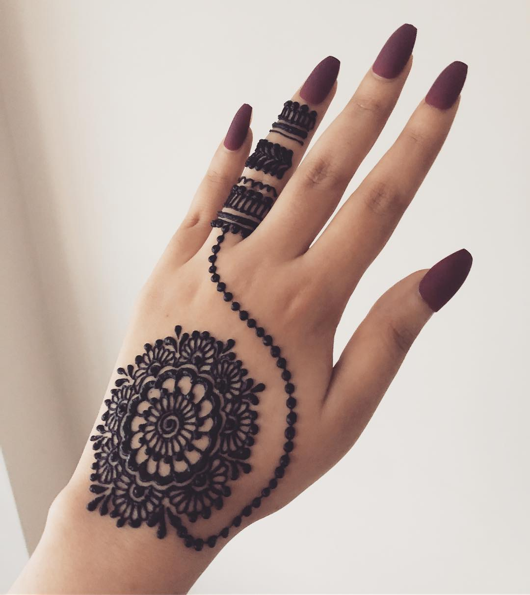 dot Chain mandala mehndi design for back hand