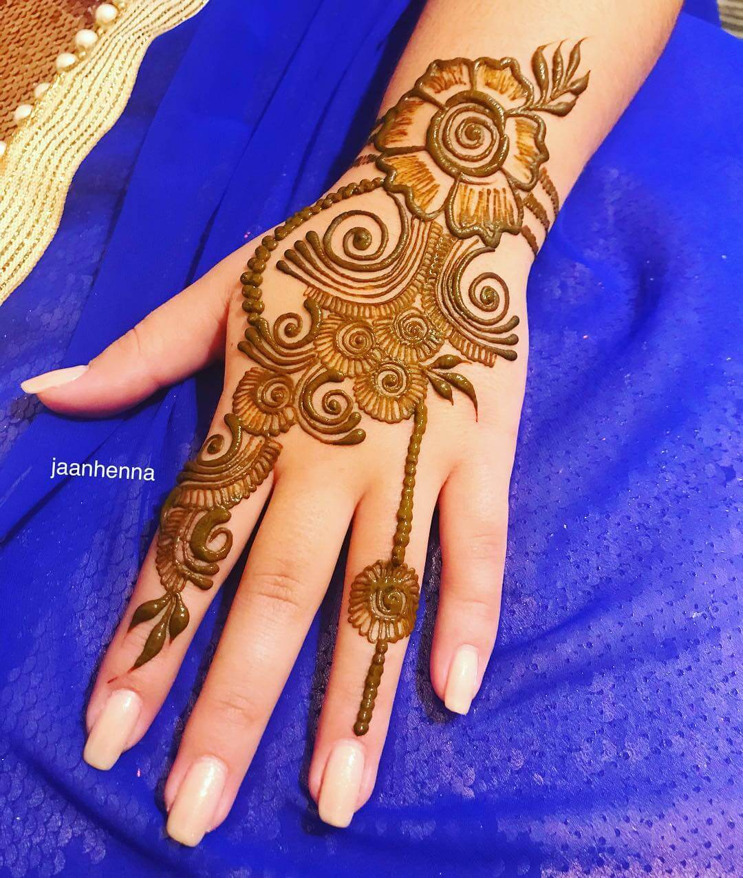Haathphool style Arabic Mehndi for Back Hand