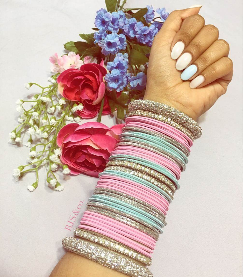 Bubblegum dream bridal bangle design Heavy pearl karas bridal bangle design Heavy Metal Bridal Bangle Designs