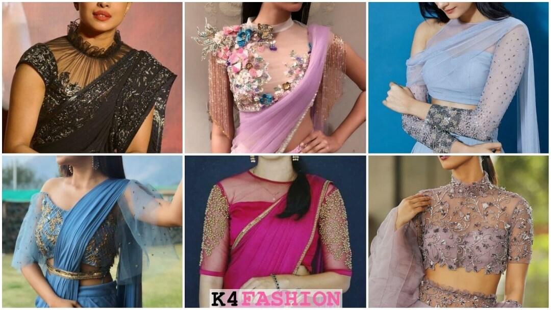 Latest Front Net Blouse Designs For Saree Lehenga 2020 K4 Fashion