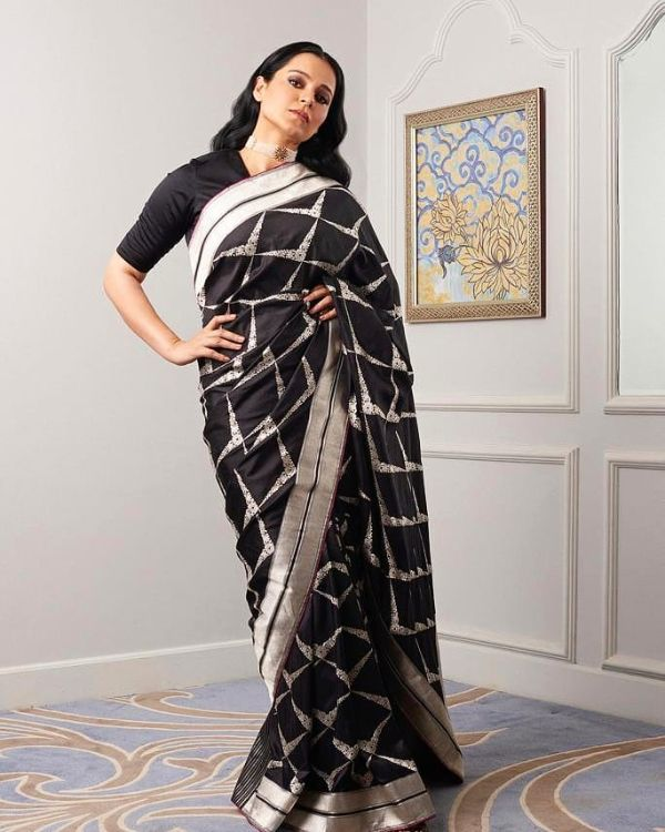 Plain long sleeved blouse Modern Saree Draping Styles Inspo from Bollywood