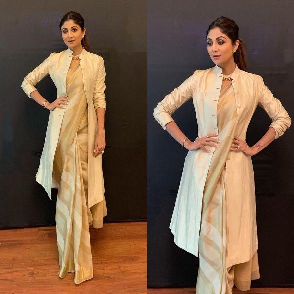 Saree with jacket Modern Saree Draping Styles Inspo from Bollywood