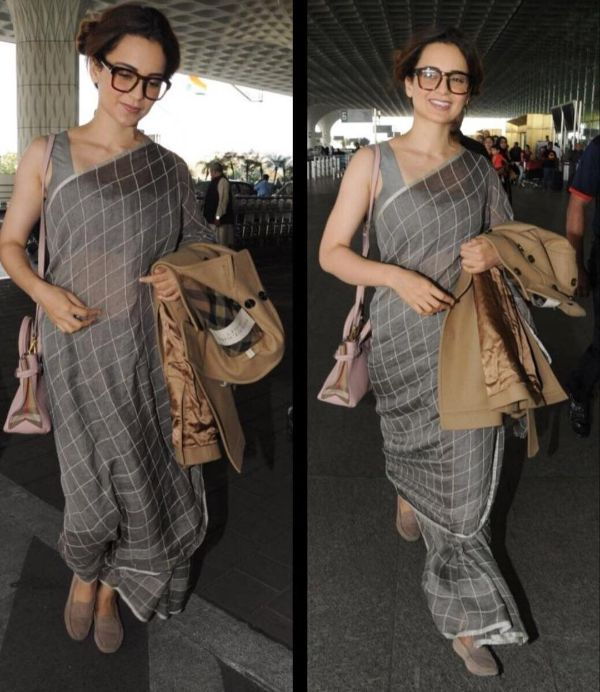 Check print saree Modern Saree Draping Styles Inspo from Bollywood