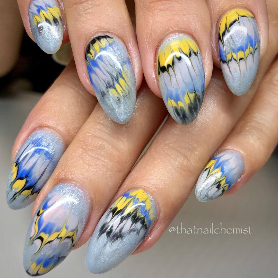 Gel polished nails! Marble Nail Art Designs