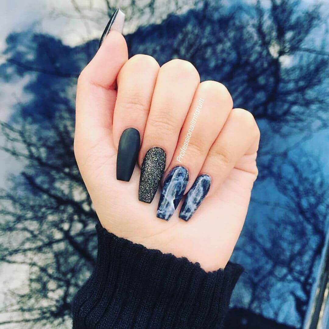 Marble with matte finish Marble Nail Art Designs
