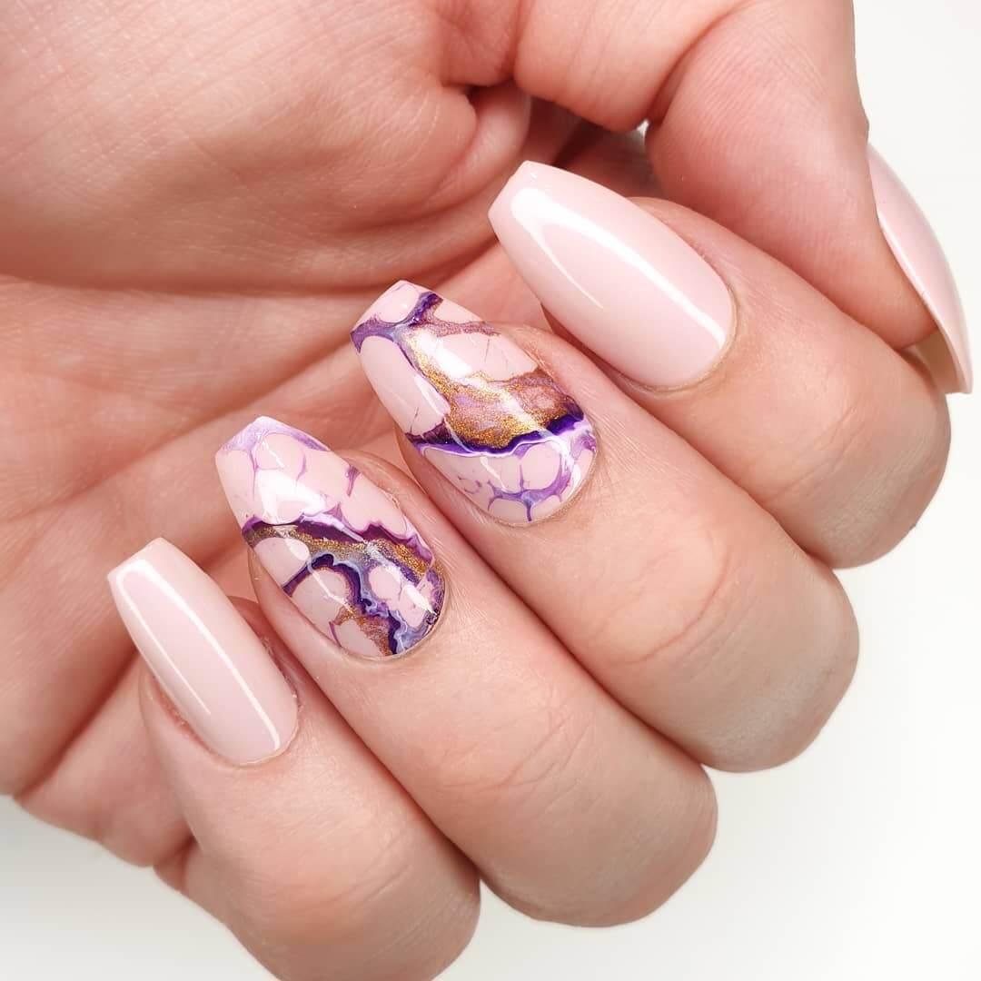 Nude base marble nail art!