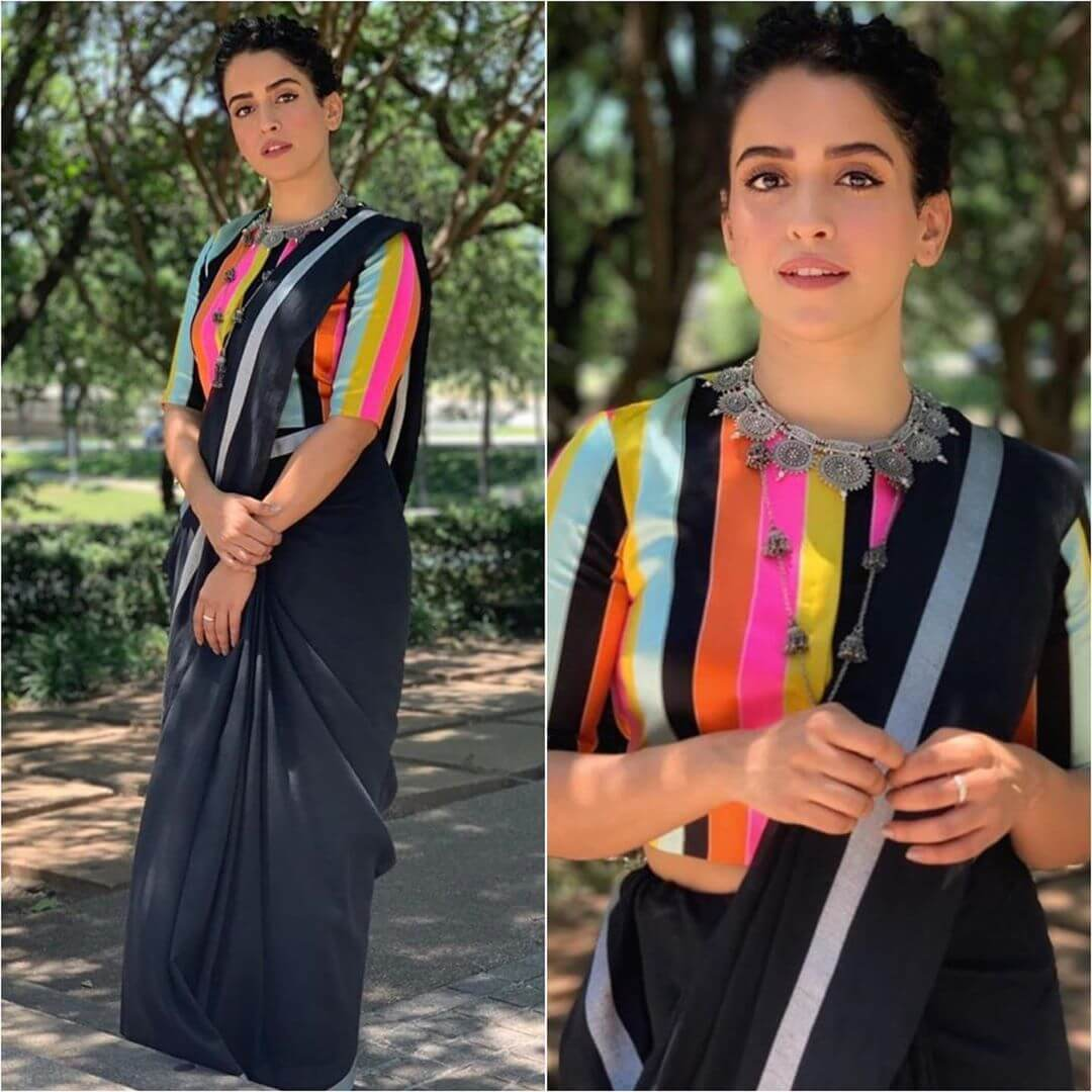 Plain saree with coloured striped blouse