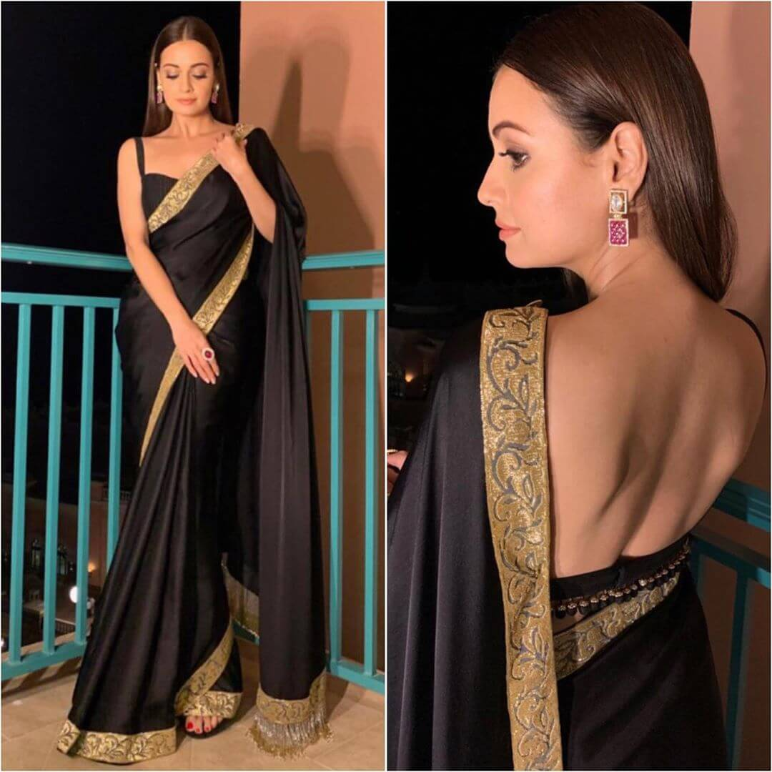 Strappy blouse with deep back Plain Sarees with Designer Blouse Designs - Best from Bollywood