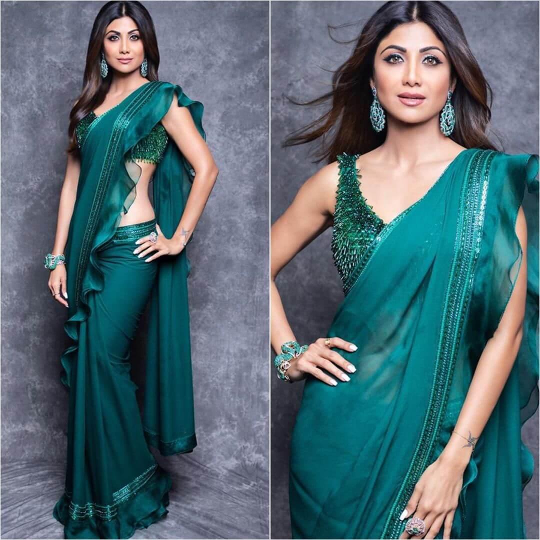Emerald Green embellished stoned blouse