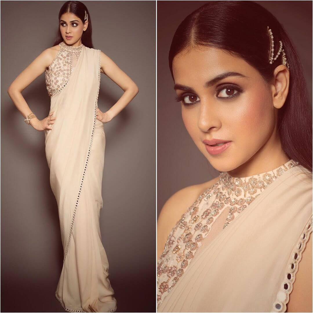 Halter neck blouse with net detailings - Plain Sarees with Designer Blouse Designs - Best from Bollywood