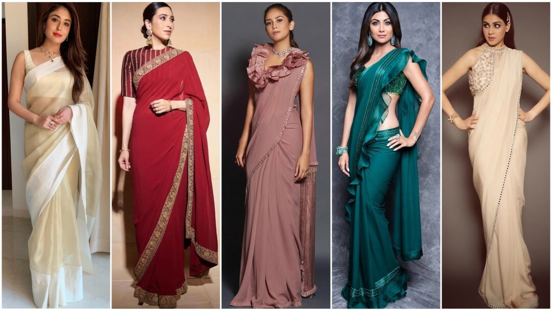Bollywood Actress Stunning Collection of Plain Sarees With Designer Blouse