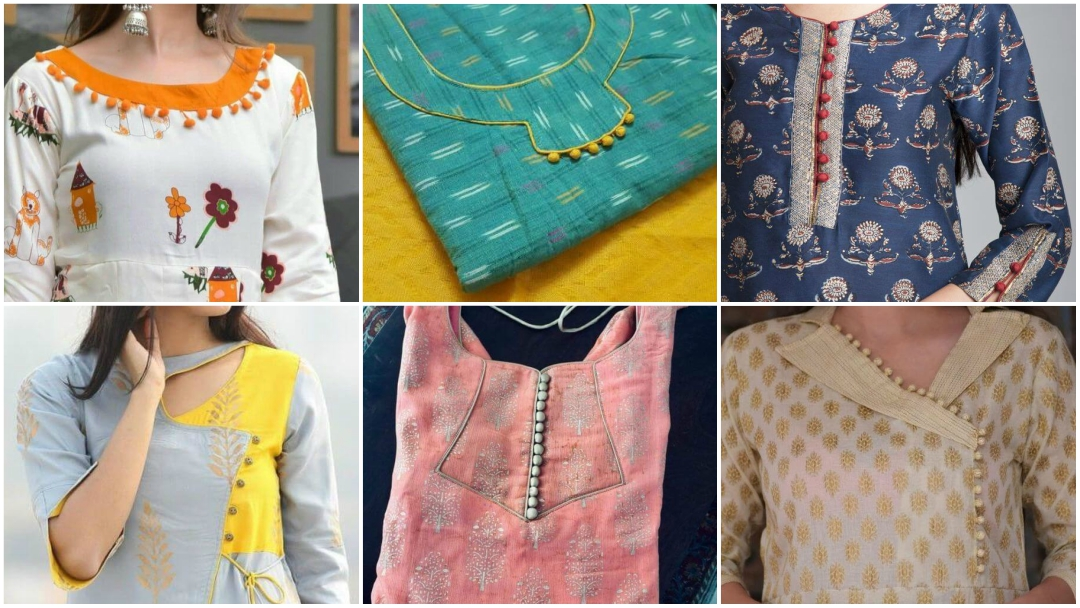 Potli Button Neck Designs For Kurti Or Kurta K4 Fashion