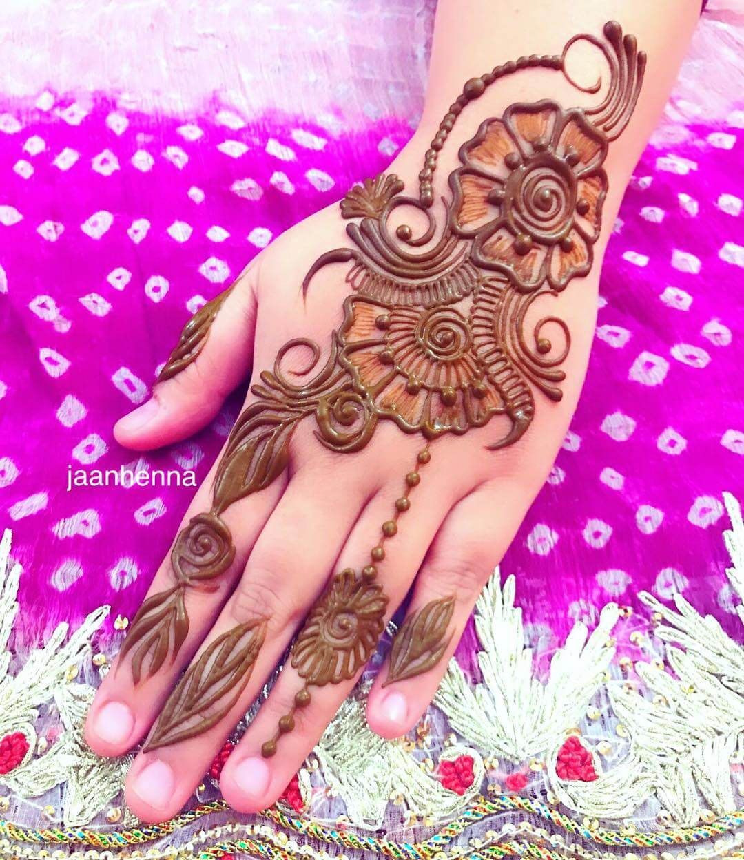 Shaded Arabic Henna Design for Back Hand