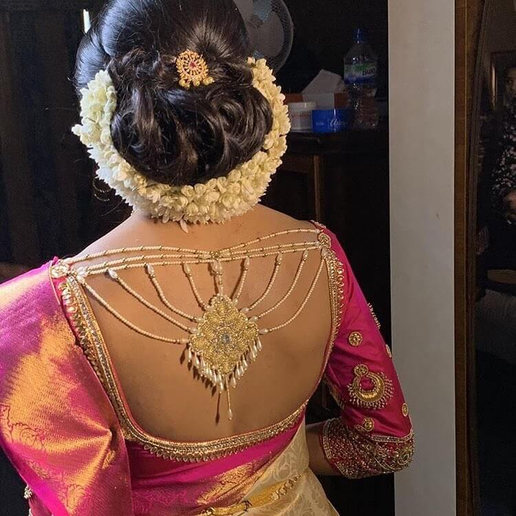 Jeweled Backless Blouse Silk Saree Blouse Back Neck Designs for South Indian Bride