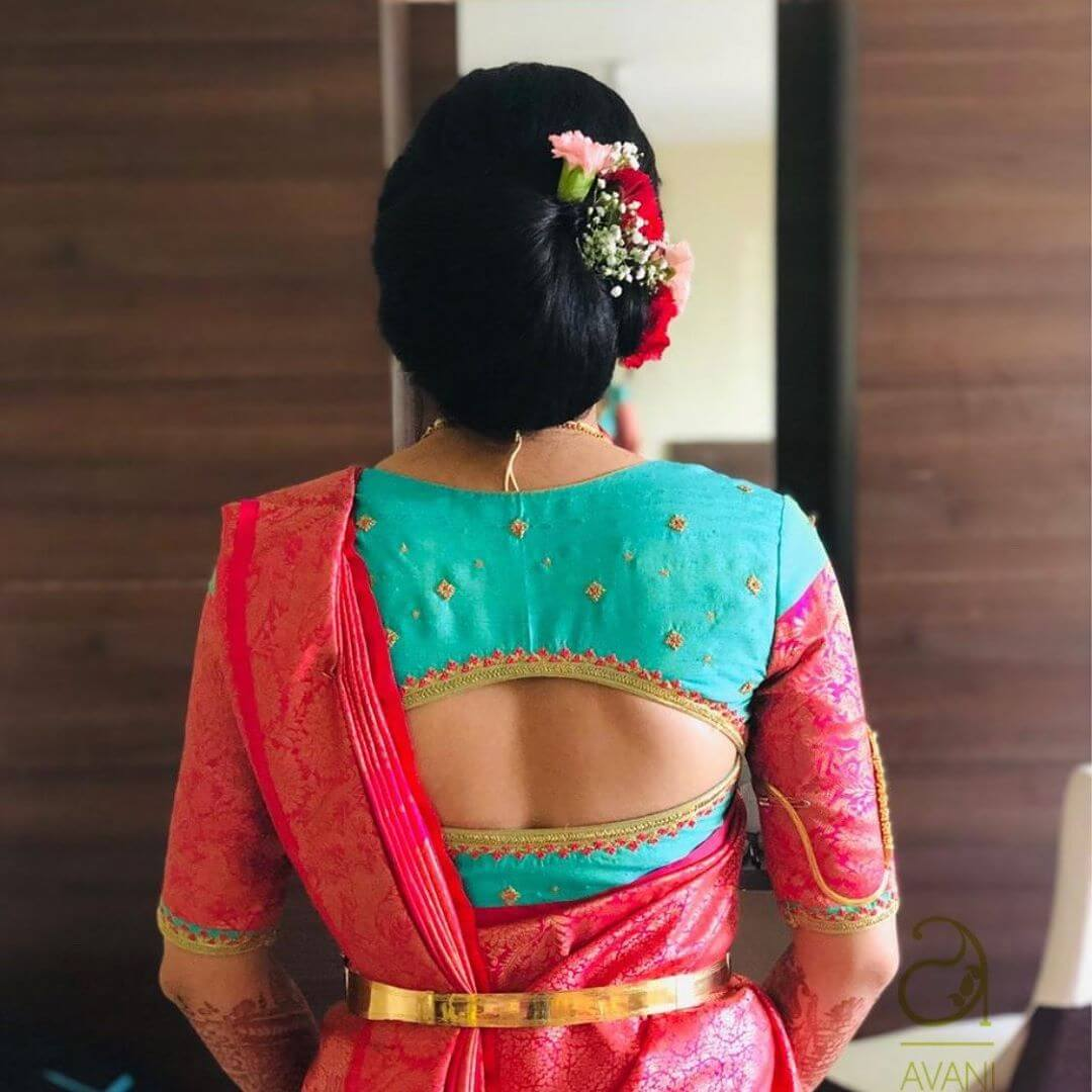 Beautiful Hand Embroidery Blouse Silk Saree Blouse Back Neck Designs for South Indian Bride