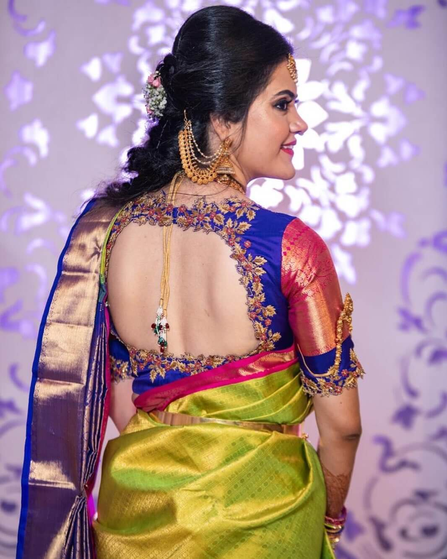 Square Cut Bridal Blouse Silk Saree Blouse Back Neck Designs for South Indian Bride