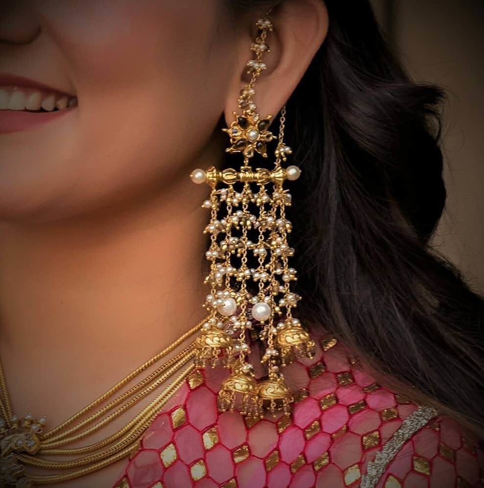 Golden Jhumka Gold jhumkis Traditional Indian jewellery Gold plated Small jhumkas Lightweight Indian earrings Gold Lookalike earrings