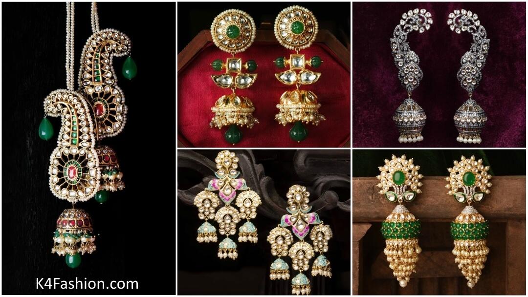 Latest and Beautiful Gold Jhumki Traditional Indian Wedding Earrings Jhumka Designs
