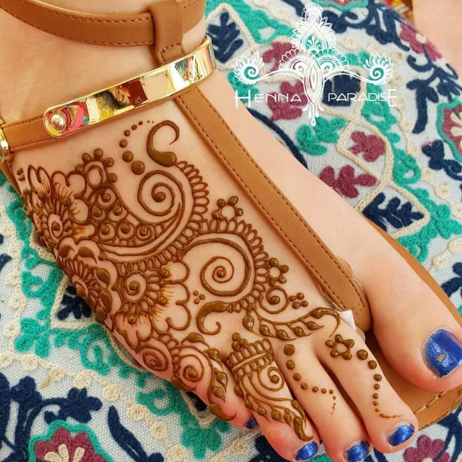 Boho style Feet Henna Mehndi Art