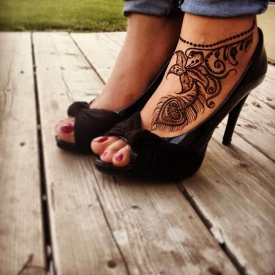 Floral Feather Feet Legs Mehndi Henna Designs