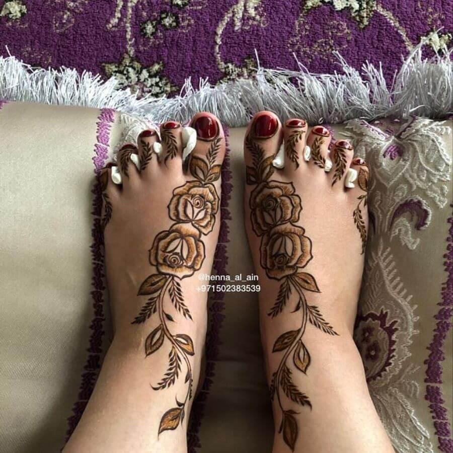 Shaded Rose Feet Henna Mehendi Designs
