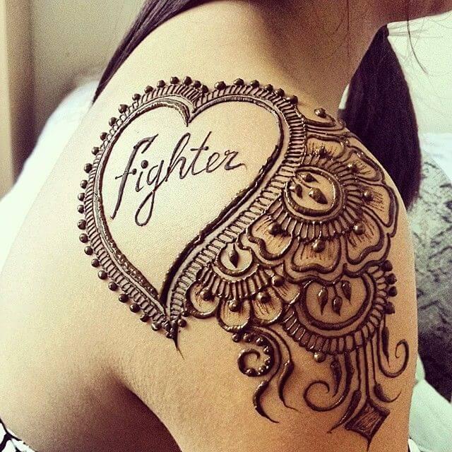 Valentine Day Special Heart Henna Tattoo on Shoulder