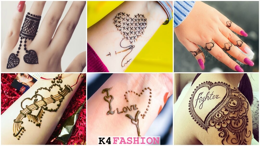 Simple Romantic Heart shape Henna Tattoo Mehndi Design
