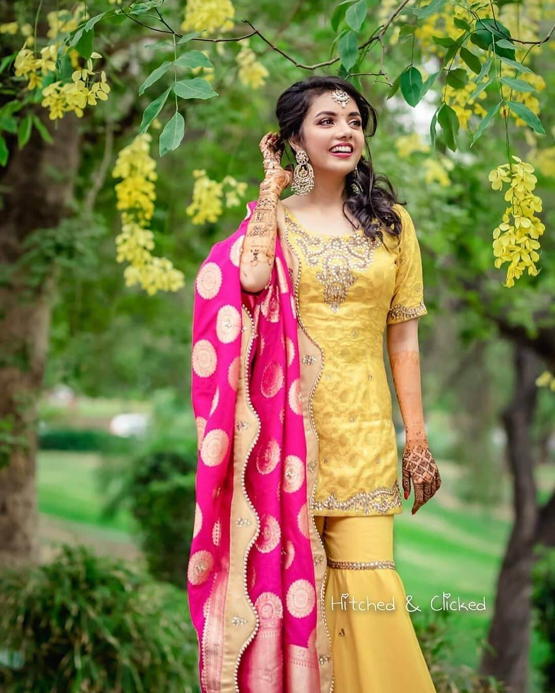 Yellow and Hot pink sharara suit - What do brides wear for Mehndi Function? Know from Real Brides!