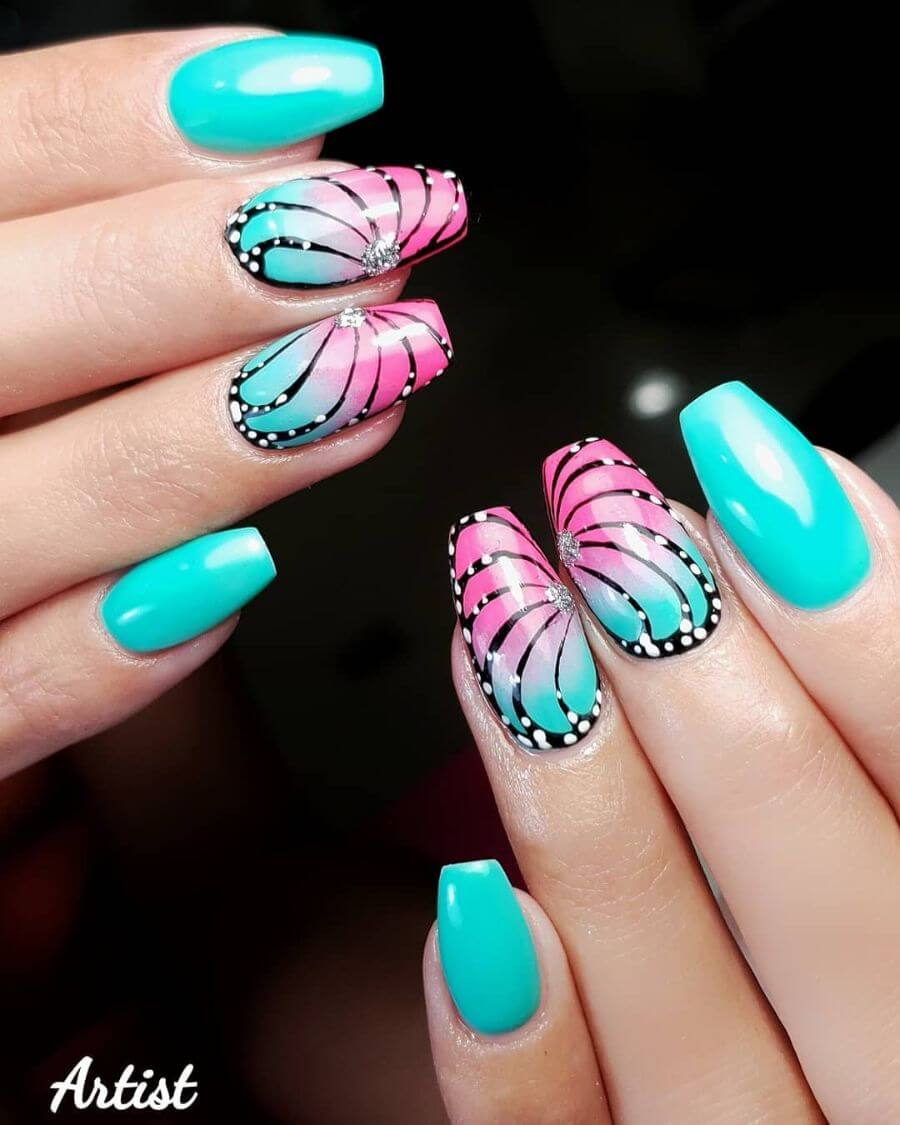 The Double-Shaded Wings Butterfly Nail Art Designs