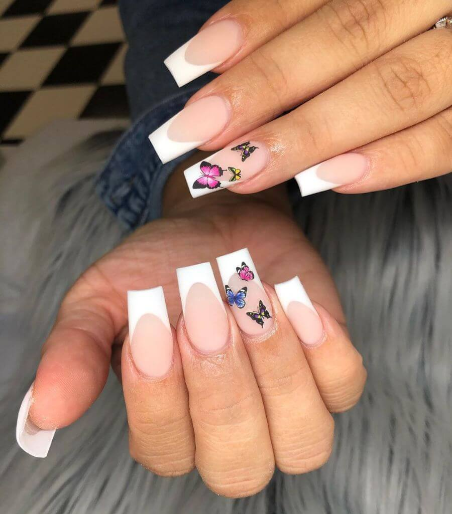 Neat And Butterflies french Nail Designs