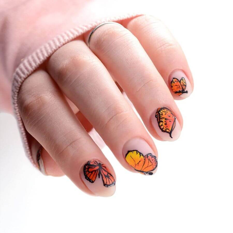 Beautifully Painted Butterfly Nail Art Designs