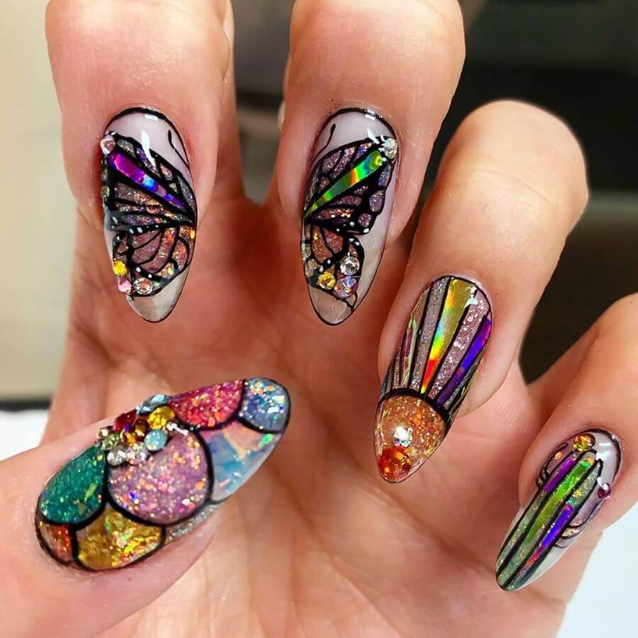 The VIBGYOR Rainbow Butterfly Nail Art for Summer