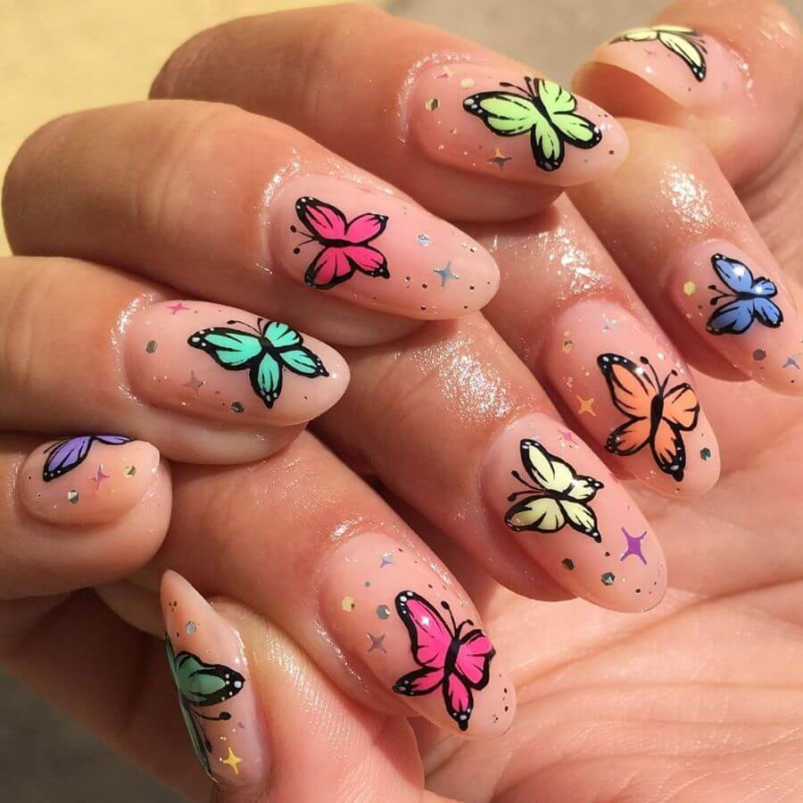 The Salmon Pink Art manicure