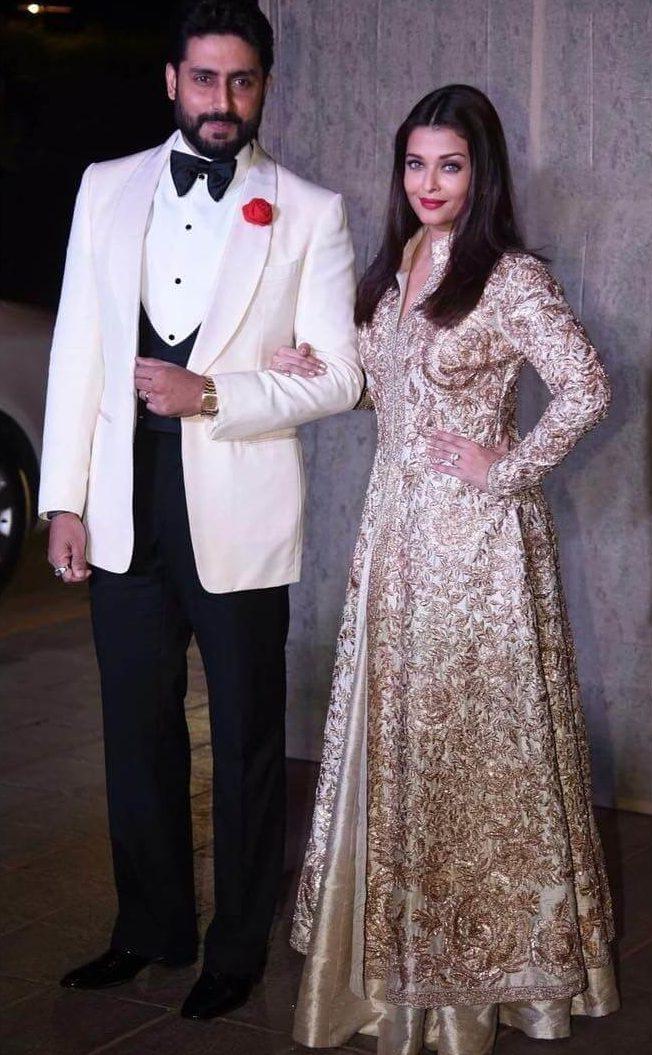 Gold And Ivory Lehenga - Aish and Abhishek Bachchan