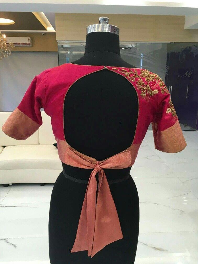 Boat Neck With Knotted Back Design blouse