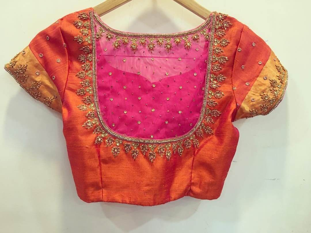 Double Colored Back Blouse Design