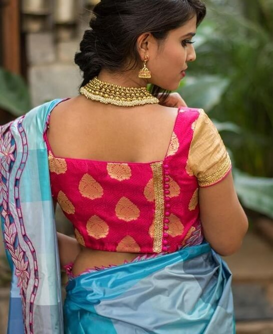 Square Neck Potli Buttoned Back Blouse Design