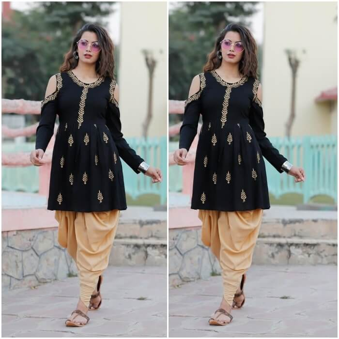 short height girls and ladies looking best in black cold shoulder kurti and patiala salwar for Indian party dress