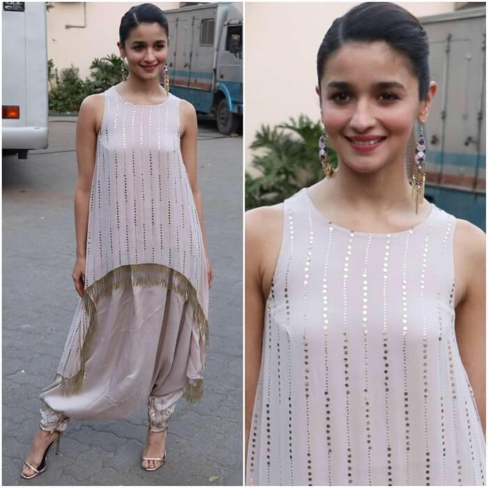 Alia Bhatt in kurti and patiala with Western touch and sleek hairstyle for all short height girls and ladies to rock Indian party.