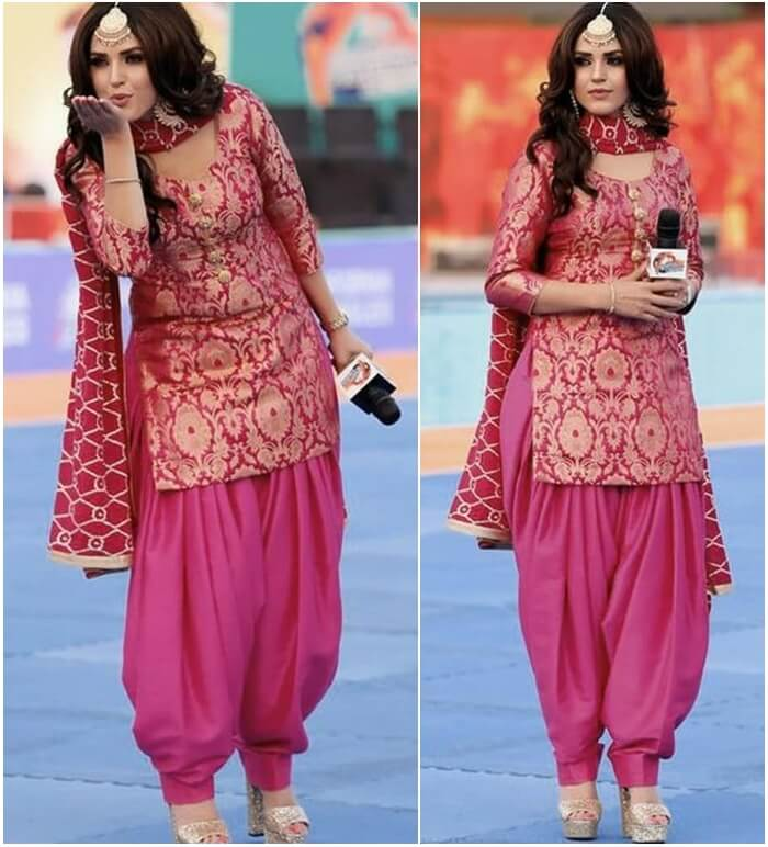 Fancy punjabi hot pink short kurti patiala suit and dress tips for short height girls and ladies