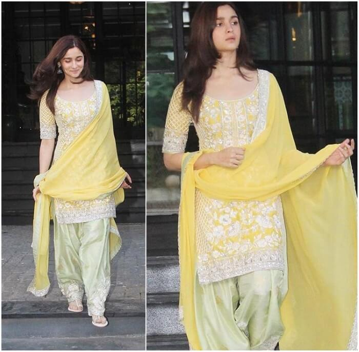 Yellow heavy embroidered kurti and patiala for short height girls and ladies to look party ready in Indian dress
