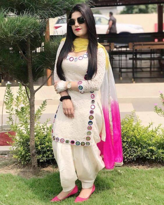 White chikankari kurti with patiala salwar for short height girls and ladies for Indian party dress.