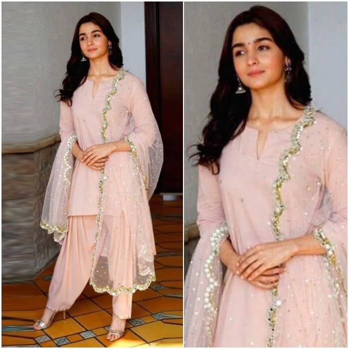 Alia Bhat in pink kurti patiala and net dupatta to party dressed in Indian style that would look good on all short height girls and ladies.